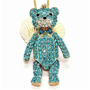 Jewelry - Steiff Articulated Turquoise Crystal Bear Necklace